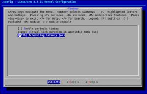 Configuration dans le noyau de la latence