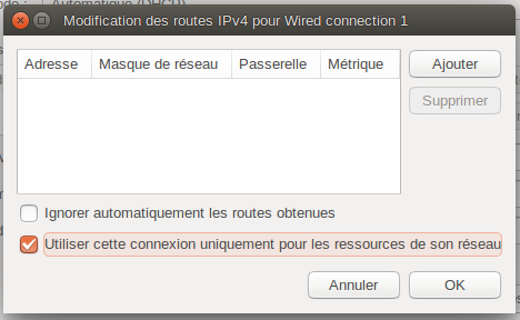 "Boîte ""Modification des routes IPv4 pour Wired Connection 1"""