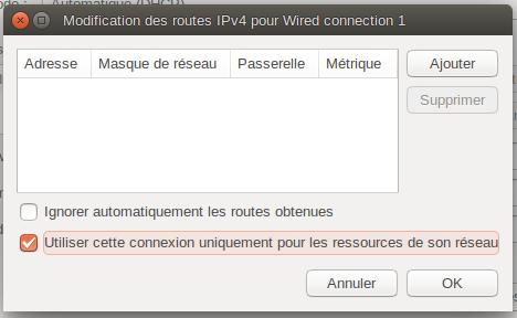 """Boîte """"Modification des routes IPv4 pour Wired Connection 1"""""""