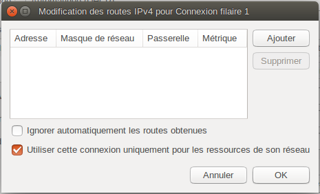 """Boîte """"Modification des routes IPv4 pour Connexion filaire 1"""""""